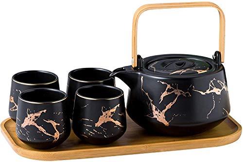 KKGUD Keramik-Teeservice im japanischen Stil, elegante Teekanne und 4 Teetassen mit Bambus-Tablett...