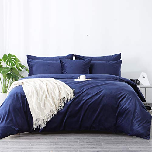 RUIKASI Warm Fuzzy Velvet Duvet Covers Set Super King Navy Blue, 3 PCS Plain Cuddly Fleece Bedding Set for Winter, Easy Care Duvet Quilt Cover 200x200 cm with 2 Pillowcases 50 x 75