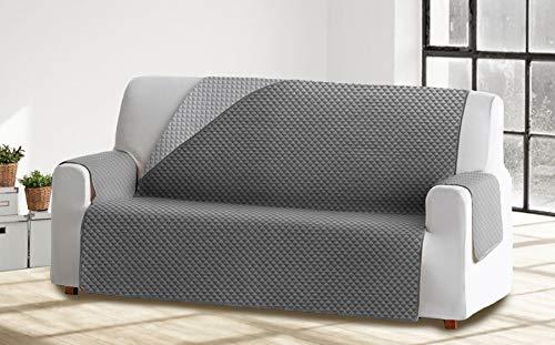 Cabetex Home - Cubre sofá Reversible Bicolor con ajustes - Microfibra Acolchada Antimanchas (Gris/Gris Oscuro, 3 Plazas)
