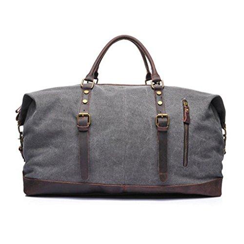 Canvas Men's overnight bag leather weekend bag waterproof luggage bag large travel bag,54L*26 * 32cm (Color : Gray, Size : 54L*26 * 32cm)