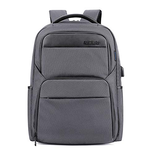Arctic Hunter Throu Men's Business Laptop Backpack Daypack, Grey, Water-Repellent, with USB, Tablet and Laptop Bags