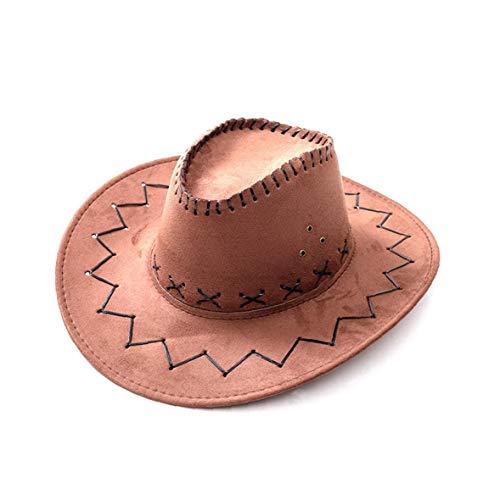 YZLSM 1PC Western-Cowboy-Cowgirl-Hut Wide Brim Western-Cowboy-Hut Cattleman Hut für Halloween-Weihnachtsfest-Kostüm (Brown)
