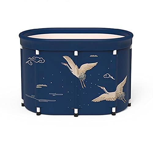 Bañera de baño plegable Bañera, Aislamiento de lienzo Bañera Familia Spa Space-Saving Bubble Bañera para adultos Niños (100 cm 80cm) Color múltiple-Grúa azul_80 cm