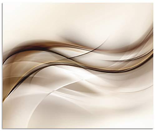 Artland Spritzschutz Küche aus Alu für Herd Spüle 60x50 cm Küchenrückwand mit Motiv Abstrakte Welle Moderne Kunst Abstrakt Kreativ Braun T9LI