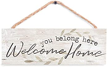 P. Graham Dunn You Belong Welcome Home Whitewash 10 x 3.5 Inch Pine Wood Slat Hanging Wall Sign