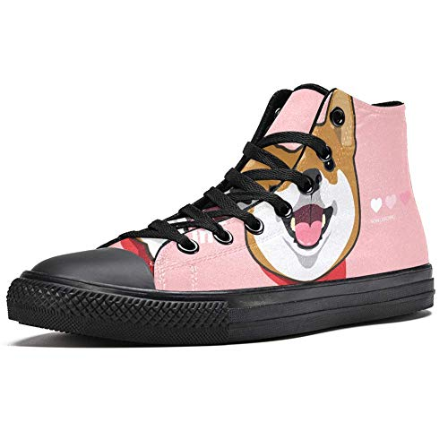 TIZORAX High Top Sneakers for Men Cute Smile Shiba Inu Printing Fashion Lace up Canvas Shoes Casual Walking Shoe