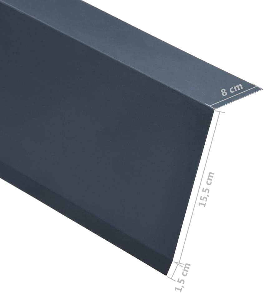 vidaXL 5x Perfiles de Borde Tejado en L Cantoneras de Escalera Bordes Laminados Pelda/ños Seguridad Protectores de Hogar Aluminio Antracita
