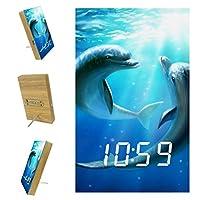 寝室用デジタル目覚まし時計キッチンオフィス3アラーム設定ラジオウッドデスククロック-イルカ水中青い海