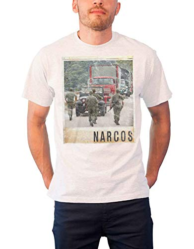 Officially Licensed Merchandise Narcos Vintage Photo T-Shirt (White), X-Large