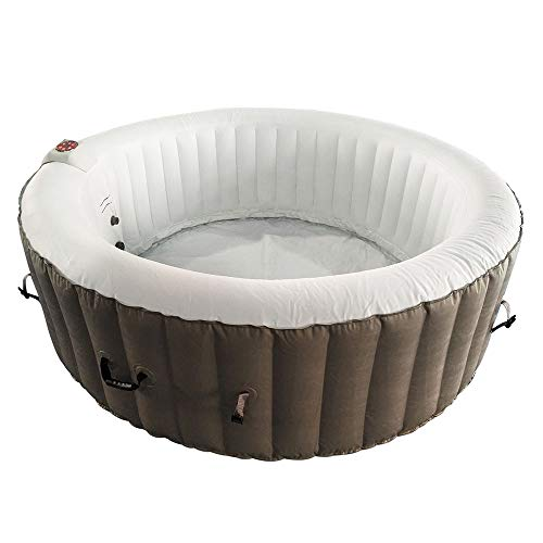 ALEKO HTIR6BRW Round Inflatable Hot Tub Spa with Cover, 6 Person Portable Hot Tub - 265 Gallon Brown and White