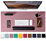 """Leather Desk Pad Protector,Mouse Pad,Office Desk Mat,31.5"""" x 15.7"""" Non-Slip PU Leather Desk Blotter,Laptop Desk Pad,Waterproof Desk Writing Pad for Office and Home (31.5"""" x 15.7"""", Dark Pink)"""