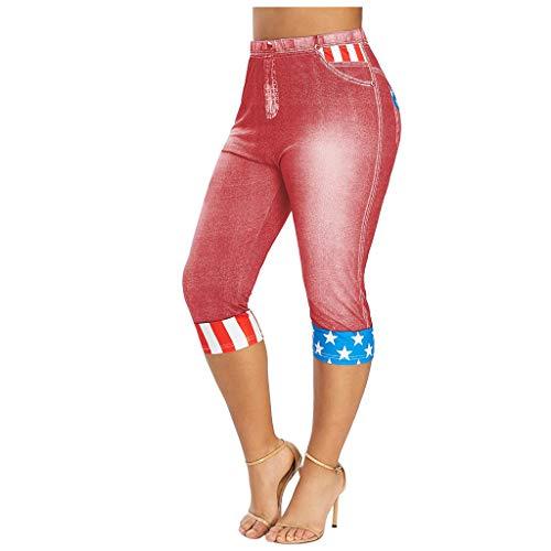 Xniral Damen Kurz Jeans Elastische Taillen Leggings Plus Size American Flag 3D-Druck Mittellange Caprihosen-Jeansshorts(Rot,XXL)