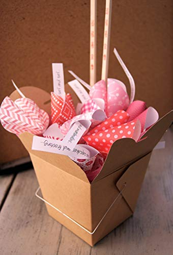 Personalized Valentine Paper Fortune Cookies in Takeout Box and Chopsticks with Customized Love Messages Anniversary Birthday Gift