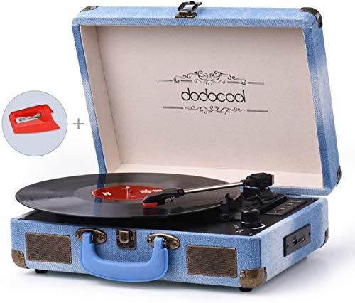 dodocool Tocadiscos Blue Tooth de Estilo Vintage, Giradiscos de Tres Velocidades con Altavoces Estéreo, Salida RCA, Conector para Auriculares, Grabación por USB y Tarjetas SD, Azul