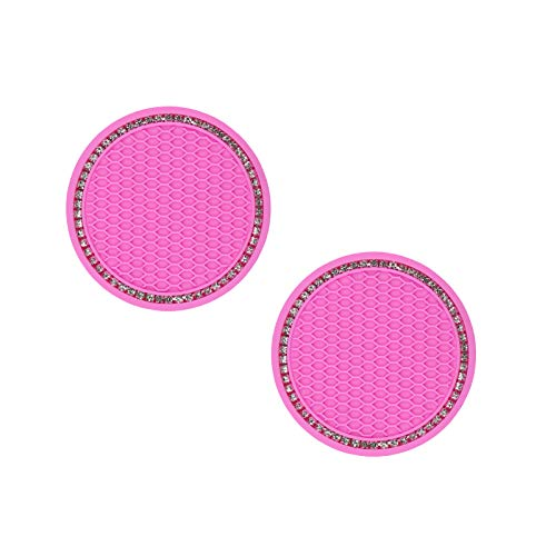 Bling Car Cup Holder Coaster, 2 Pack 2.75 Inch Bling Cup Silicone Mat Pad, Vehicle Crystal Cup Holder Insert Coaster Car Interior Accessories (2 Pack) (Pink)