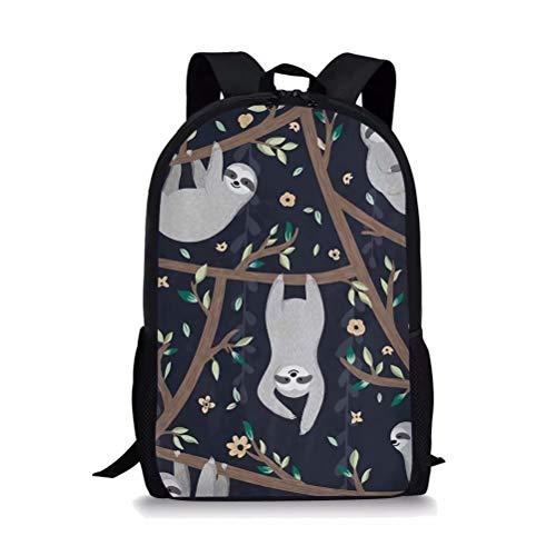 POLERO Kinderrucksäcke Rucksäcke Schule Buch Tasche Travel Sport Outdoor Rucksack für Schüler mit Faultier Print Muster