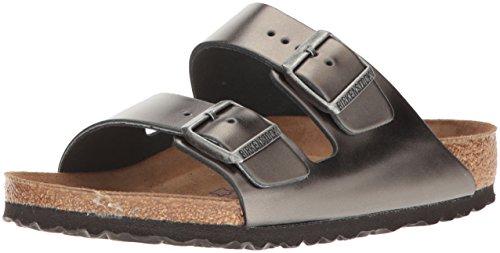 Birkenstock Unisex Arizona Metallic Anthracite Leather Sandals - 38 M EU / 7-7.5 B(M) US