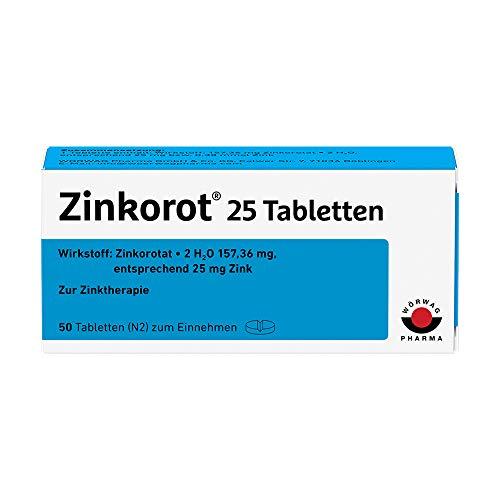 Zinkorot 25 Tabletten: Hochdosierte Zink Tabletten mit 25mg Zinkorotat pro Tablette, nur 1x täglich, 50 Stück