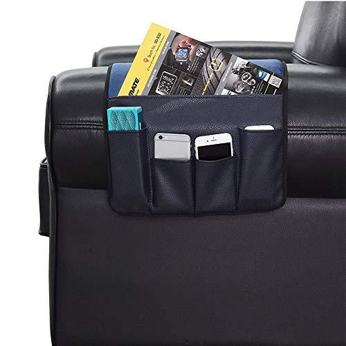 Organizador de reposabrazos para sofá, sillón, 5 bolsillos, antideslizante, bolsa de almacenamiento para sillón, bolsa impermeable para colgar para tabletas, teléfonos, libros, revistas, televisión, mando a distancia, azul