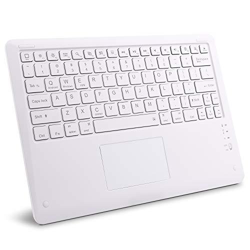 GOOJODOQ Teclado Bluetooth Touchpad, Teclado Inalámbrico Portátil Ultrafino Bluetooth 3.0 Aplicado a iOS (13 o Superior) / Android Tabletas y Teléfonos (Blanco)-12 Pulgadas