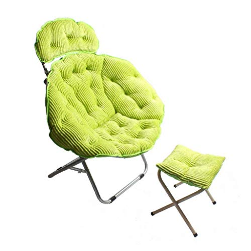 Winter Washable Folding Chair, Corduroy Large Folding Stool Outdoor Lazy Sofa Lounge Chair, Office Lounge Chair, Moon Chair, With Footrest Chair For outdoor, indoor