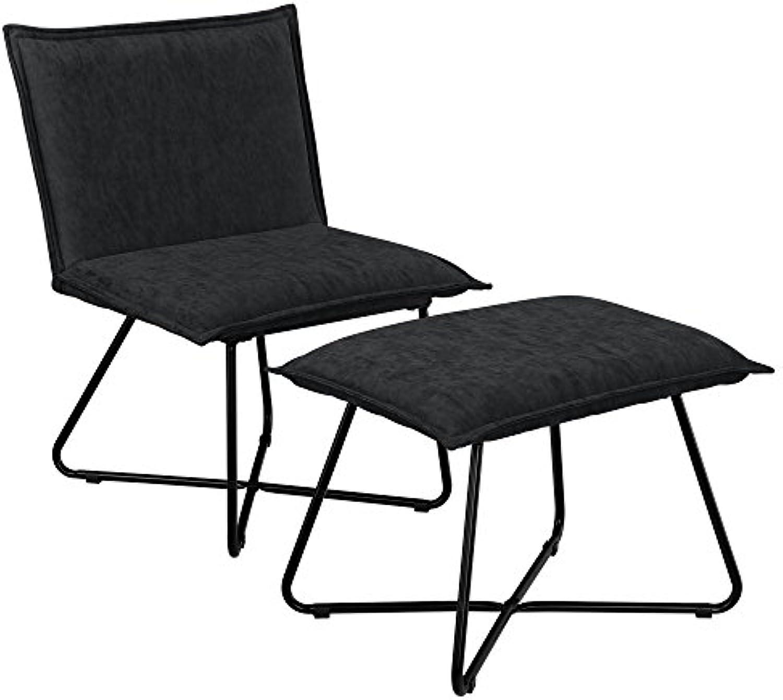 [en.casa] Stabiler Sessel mit Fuhocker im Set schwarz - Wildlederimitat - Eisengestell