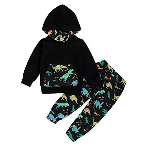 Borlai 2 Stück Kinder Junge Dinosaurier Kleidung Set Kleinkind Baumwolle Kapuze Hemd Hosen Outfits 1-7Y
