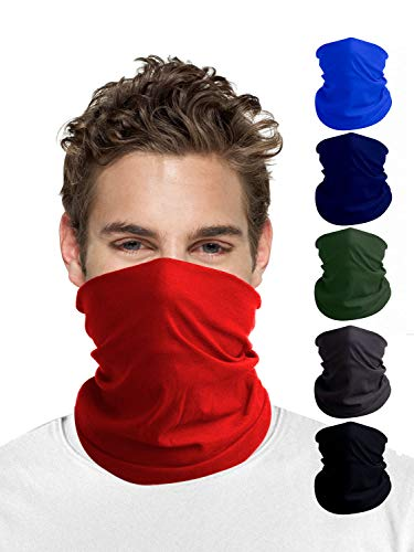 Solid Seamless Scarf face mask for Men | Unisex Bandana Adjustable Dust UV Protection | Summer Windproof Neck Gaiters | Magic Headwear Washable Tube Headband mask for Winter Women Outdoor Running