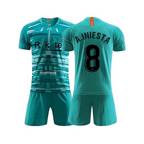 LDFN Andres Iniesta # 8 Fußball Trikotset, Mesh-atmungsaktiv und schnell trocknend Sport mit kurzen Ärmeln, Herren und Kinder (Color : A, Size : Child-28)