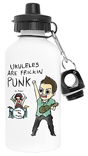 Ukuleles Are Awesome Punk Blanco Botella de Agua Aluminio Deportes Viaje Exterior White Water Bottle Aluminium Sports Travel Outdoor
