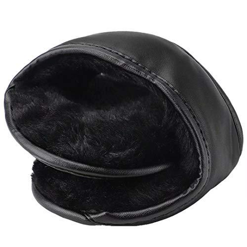 HIG Ear Warmers Unisex Foldable Leather Classic Fleece Winter Warm Earmuffs for Men amp Women Black