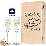 Leonardo - Calici per lo spumante, con incisione (personalizzabile), adatti come regalo per matrimonio, fidanzamento o anniversario, con scatola di legno vintage