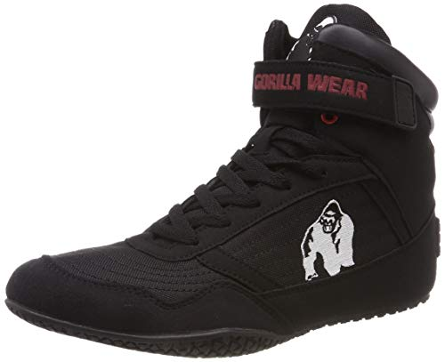 Gorilla Wear High Tops Black Bodybuilding scarpe Gorilla Wear, la marca per bodybuilding, fitness, lifestyle e arti marziali Colore: nero Il Gorilla Wear High Top combina qualità e design in un unico