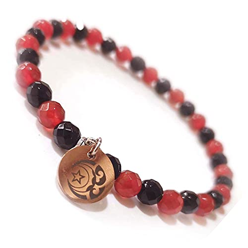Special Prayer beads bracelet stretch Small Rosary 64 Faceted Agate Bead 6mm 33-bead Men/Women (Black & red)