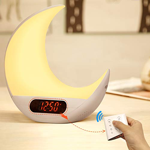 Herphia Wake Up Light, Alarm Clock Remote Control 7 Colors & RGB Sunrise Simulation & Sleep Aid Feature with FM Radio, 7 Natural Sound and Snooze for Kids Adults Bedrooms