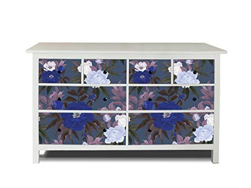 banjado Möbelaufkleber passend für IKEA Hemnes Kommode 8 Schubladen | Selbstklebende Möbelfolie | Sticker Tattoo perfekt für Wohnzimmer und Kinderzimmer | Klebefolie Motiv Blaue und weiße Rosen