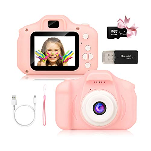 Kids Camera for Boys and Girls, Digital Camera Toy Gifts Ideas for Birthday and Christmas,Rechargeable Kids Video Camera Recorder,Portable Toy for Age 2 to 10 Years Old with 32GB Memory Card (Pink)
