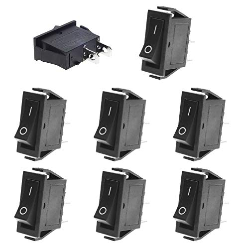 QTEATAK 8 Pcs SPST Snap-in ON-Off 2 Pin Snap Rocker Boat Switch Black AC 250V 15A 125V 20A for Car Auto Boat Household Appliances
