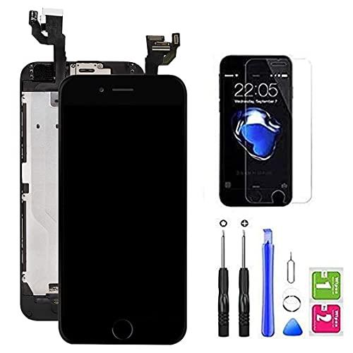 Hoonyer Für iPhone 6 Display ersatzbildschirm LCD Touchscreen Display vorinstallierte frontkamera näherungssensor Reparatur kit komplette ersatzbildschirm mit Werkzeug (Schwarz)