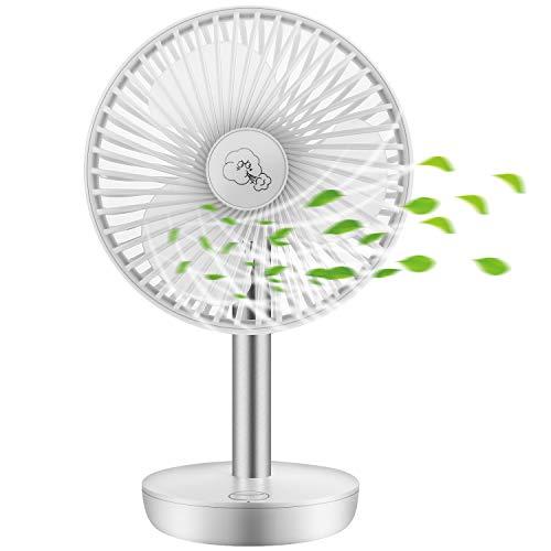 COMLIFE Tischventilator| 4400mAh Akku Lüfter| USB Ventilator 3 Geschwindigkeiten| 90 ° automatische Oszillation| max 17,5 Stunden Laufzeit| leise Tischventilator für Zuhause und Büro (Weiß)