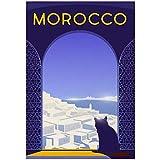 HJZBJZ Cartel de Viaje Retro de Marrakech Marruecos e Impresiones sobre Lienzo para Pared Pintura decoración de Pared imágenes decoración del hogar-20X28 Pulgadas sin Marco