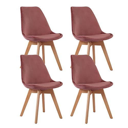 EGGREE 4er Set Samt Esszimmerstühle mit Massivholz Buche Bein, Retro Design Gepolsterter lStuhl Küchenstuhl Holz, Rose