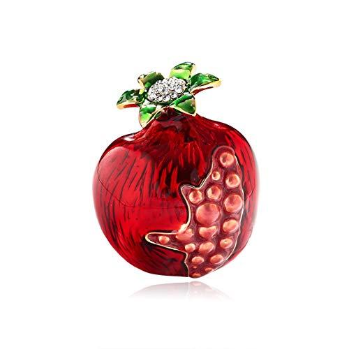 DWSLY Broche de Moda Forma de Las Mujeres Esmalte de la Manera Broche de la Fruta de la Granada roja Verde de la Hoja de Cerezo Broche de Broche Pin de la Solapa para Damas Regalos navideños
