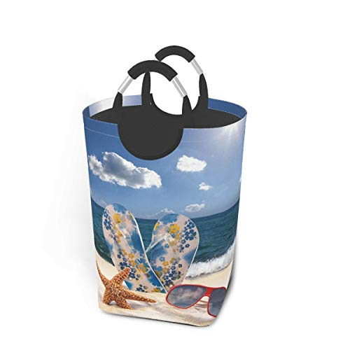 Laundry Basket Starfish,Sunglasses Flip Flops Beach Unique Large Collapsible Dirty Laundry Hamper Bag Tall Fabric Storage Baskets Rectangle Fold Washing Bin Hand Clothes Organizer for Kids,Dorm 50L