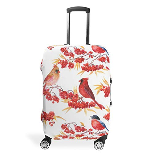 NiTIAN Luggage case Cover Washable Fashion Spandex Travel Suitcase Cover Dust-Proof Baggage Cover Case Winter Ashberry Theme White l(26-28 inch)