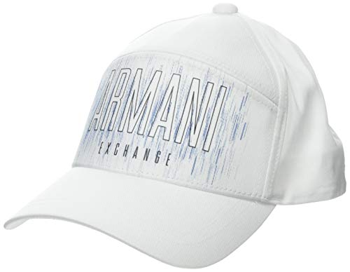 Armani Exchange Horizontal Logo Gorra de béisbol, Blanco (Bianco/White 00010), Talla única para Hombre
