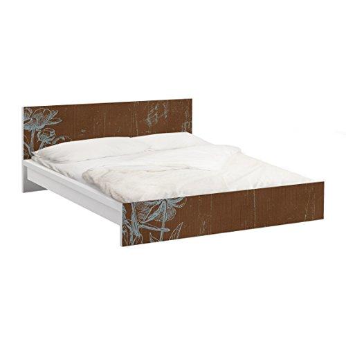 Apalis Möbelfolie für IKEA Malm Bett niedrig 140x200cm Blaue Blumenskizze 77x157cm