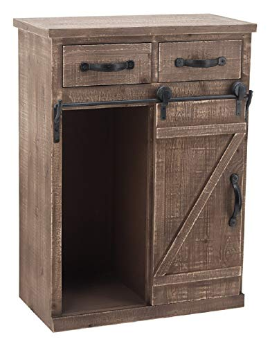 Sliding Barn Door Accent Wood Storage Cabinet, Farmhouse Style Wood End Table with 2 Drawers and 1 Cabinet, Vintage Furniture, Distressed Brown, 24' W x 13' D x 32' H