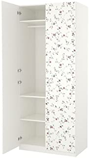 IKEA Wardrobe Soft Closing Hinge, White, Marnardal Floral Patterned, 39 3/8x23 5/8x93 1/8