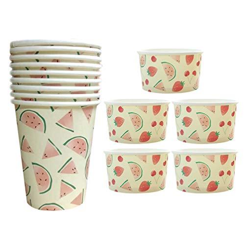 Amosfun 15 stücke einweg Papier Geschirr Set Wassermelone gedruckt pappbecher Dessert joghurtschalen kit für Party Picknick BBQ